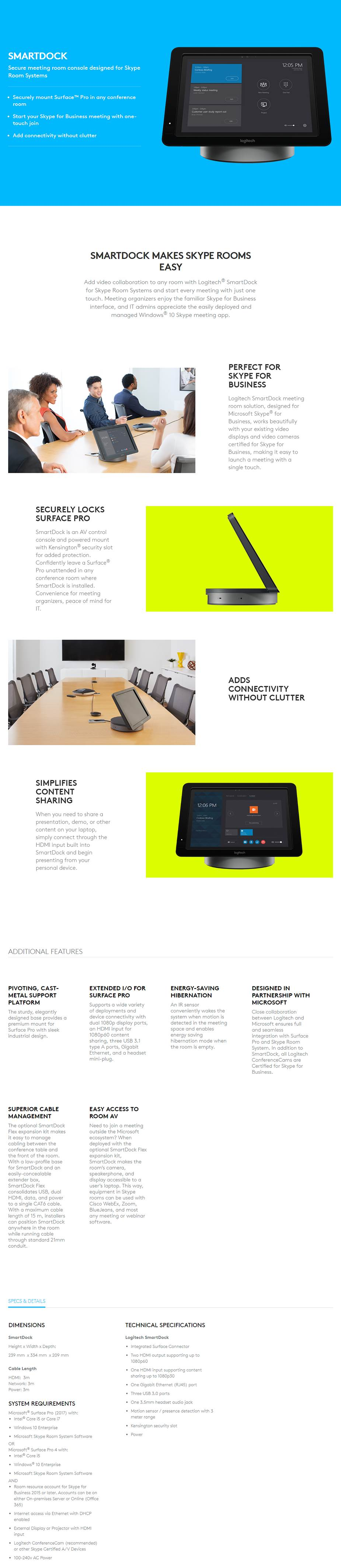 Logitech Smartdock Meeting Room Console with MeetUp