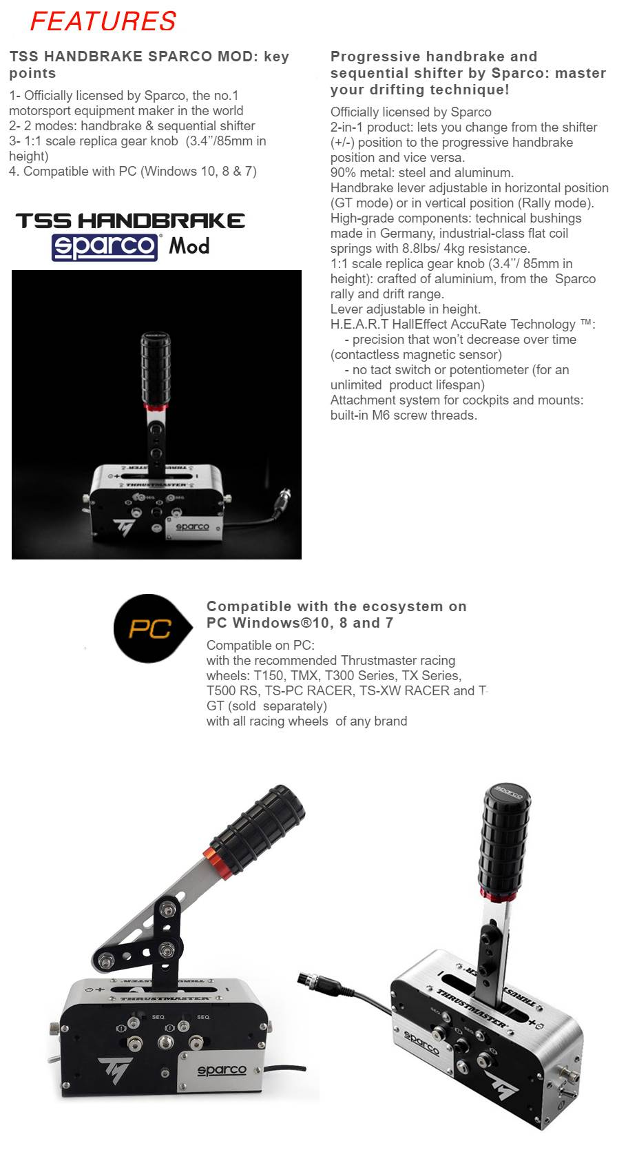 Thrustmaster Tss Handbrake Sparco Mod For Pc Racing Wheels Tm Ts Xw Racer New Manufacturer Warranty 2 Years Limited