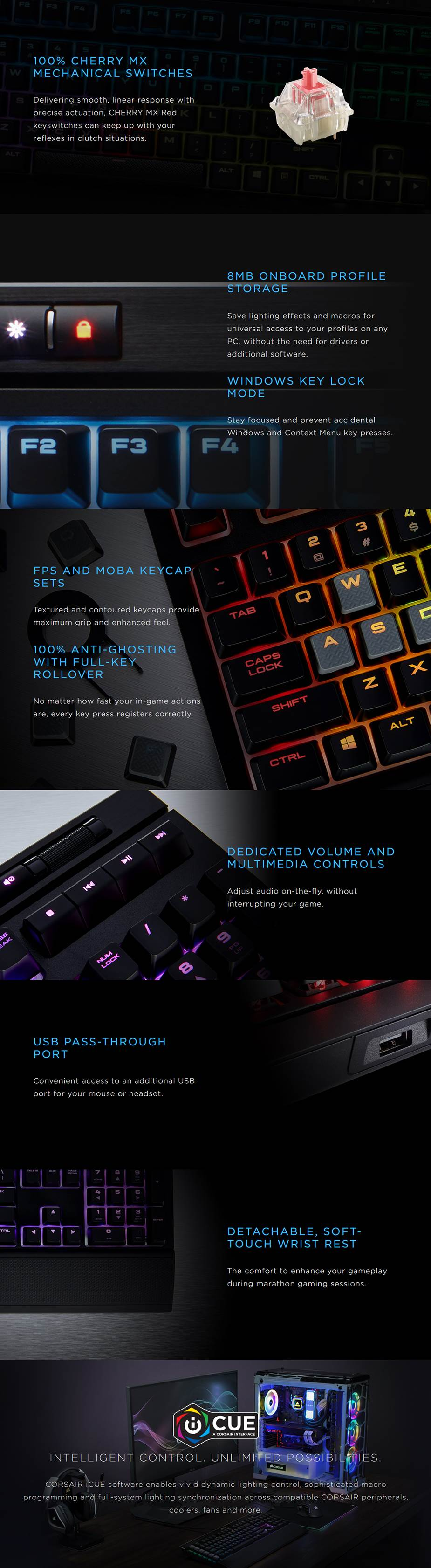 Corsair Gaming Strafe RGB MK.2 Mechanical Gaming Keyboard - Cherry MX Red - Desktop Overview 1