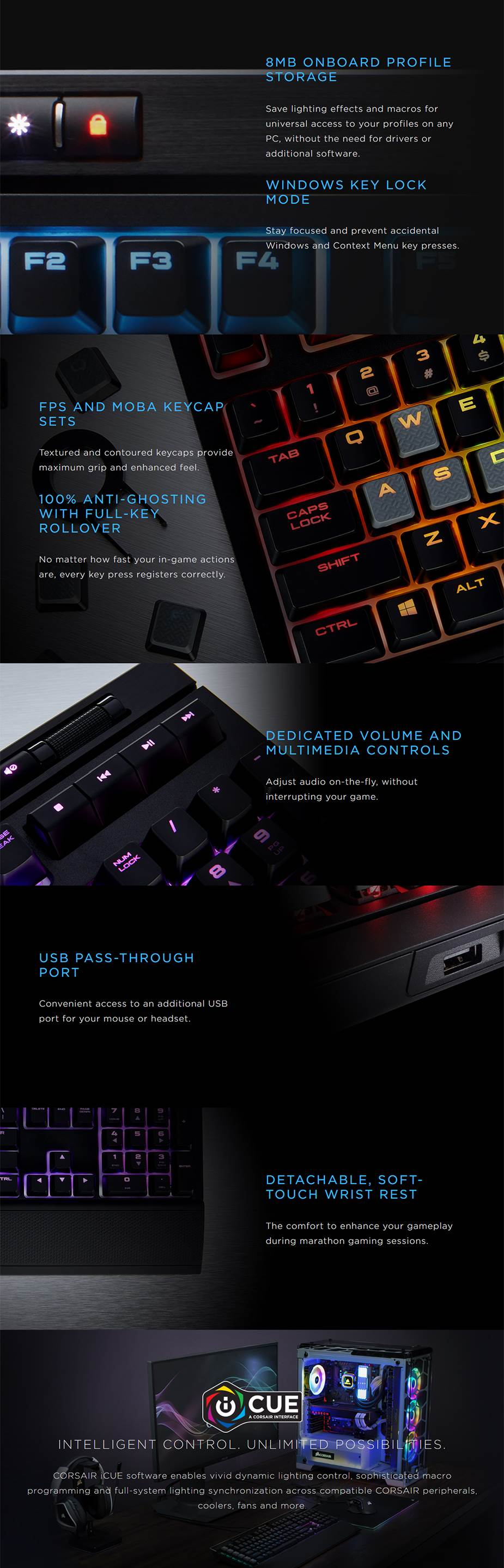 Corsair Gaming Strafe RGB MK.2 Mechanical Gaming Keyboard - Cherry MX Silent - Desktop Overview 1
