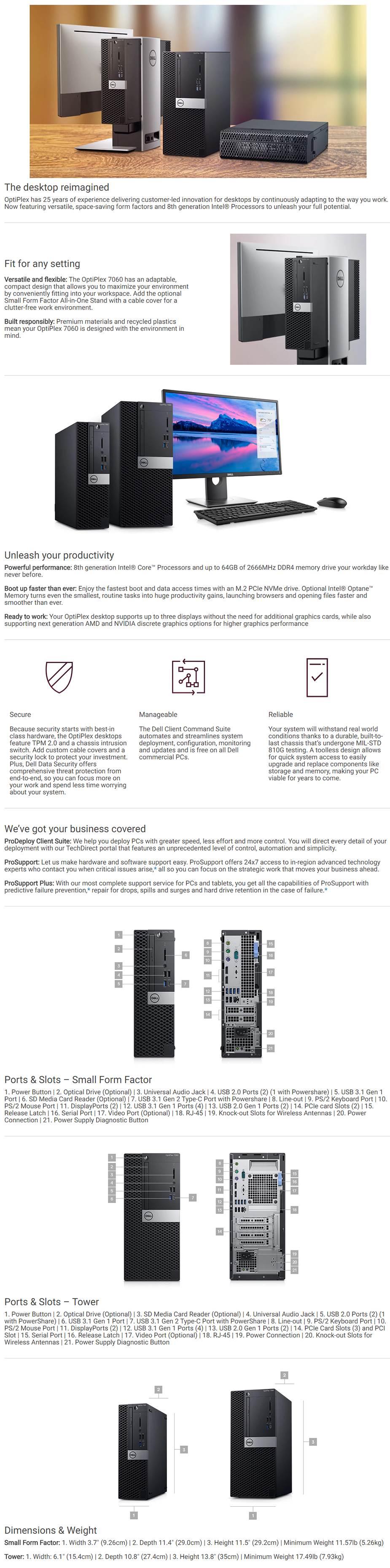 Dell OptiPlex 7060 SFF Desktop PC i7-8700 8GB 256GB SSD Win10 Pro - desktop overview