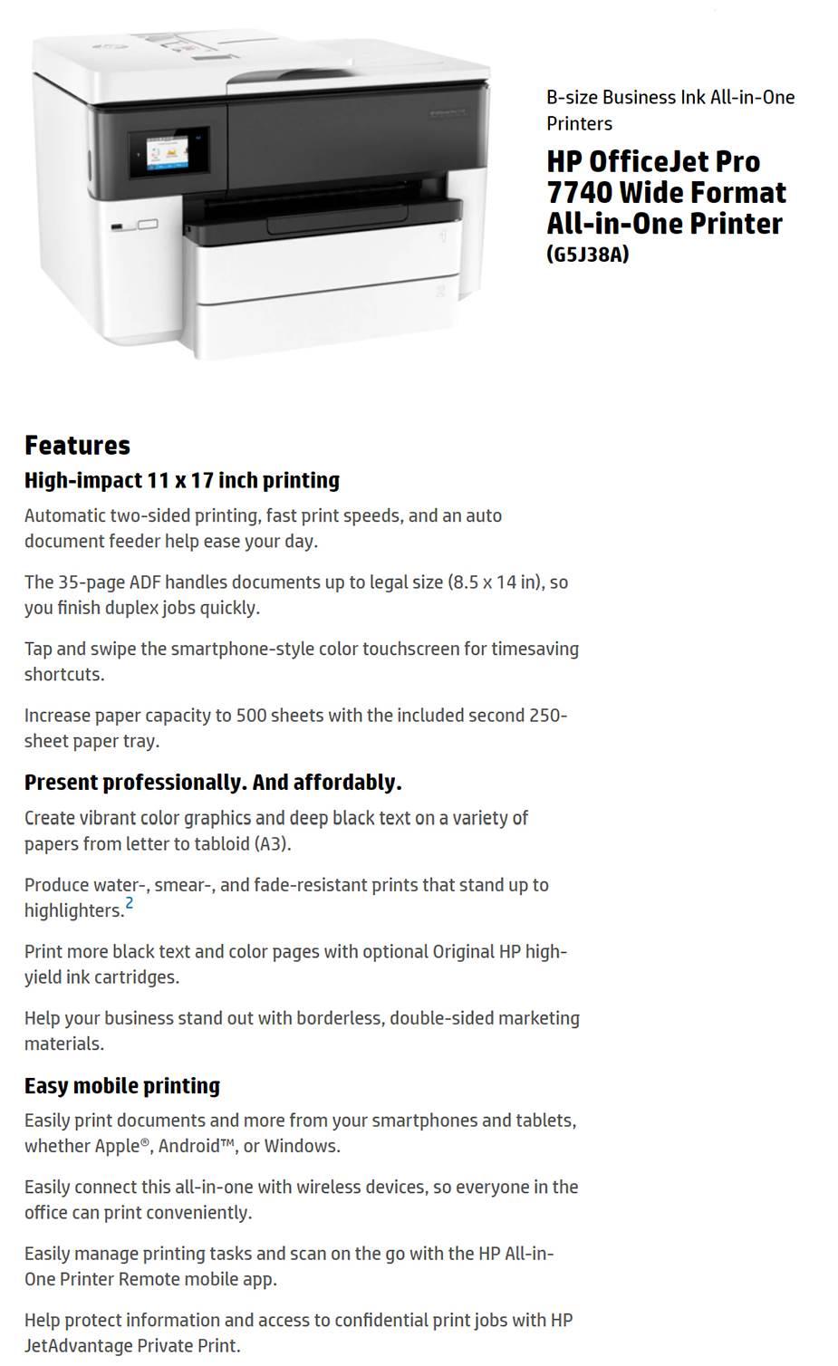 HP OfficeJet Pro 7740 A3 Colour Multifunction Wireless Inkjet Printer