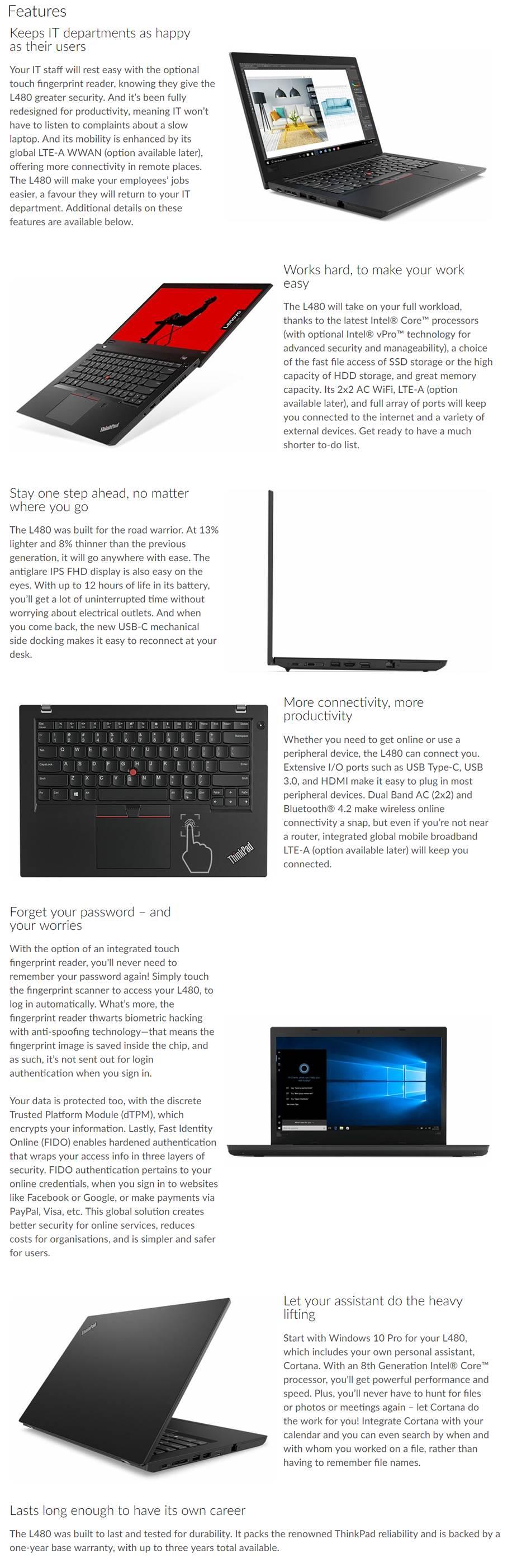 Lenovo Thinkpad L480 14In FHD I7-8550U 8Gb Ram 256Gb SSD Win10 Pro 3 Cell  1Yrdp