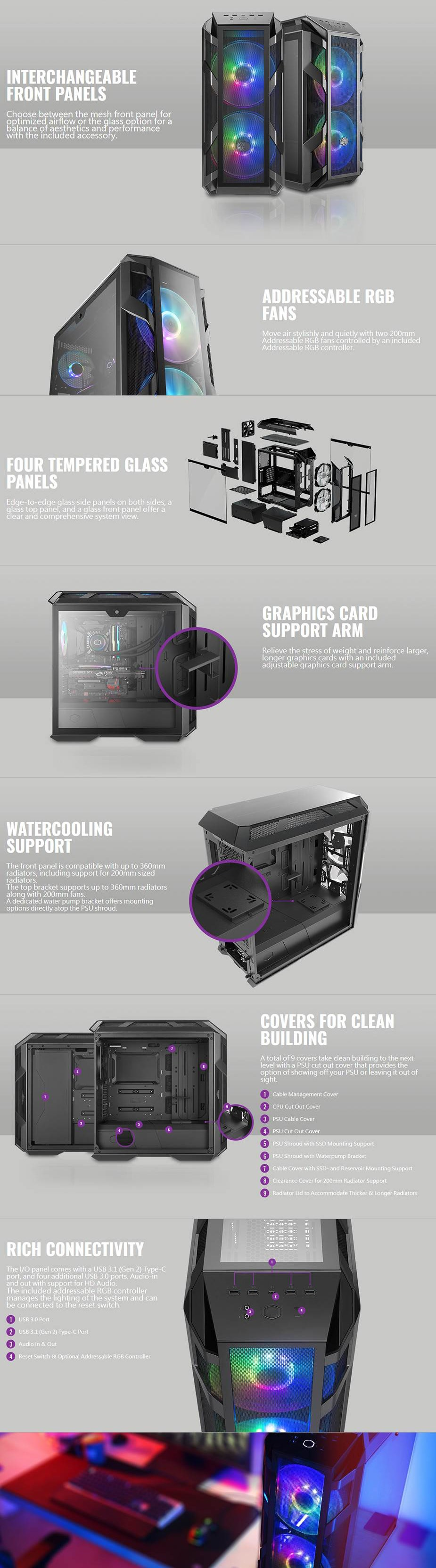 Cooler Master Mastercase H500M RGB Tempered Glass E-ATX Mid-Tower Case - Desktop Overview 1