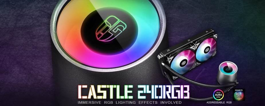 Deepcool Castle 240RGB Gamer Storm AIO CPU Liquid Cooler - desktop overview 1