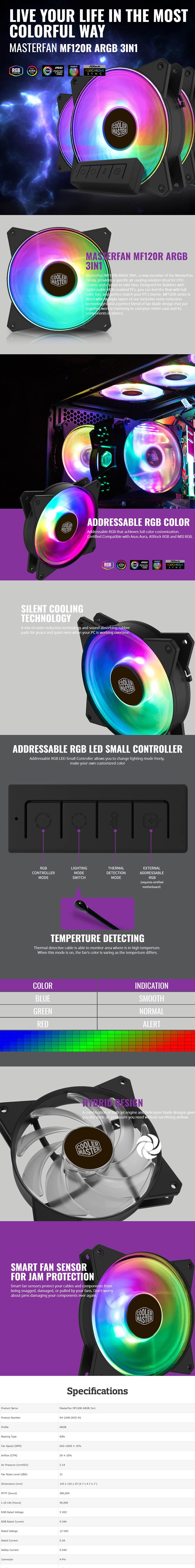 Cooler Master MasterFan MF120R ARGB 120mm Fan - 3 Pack + LED
