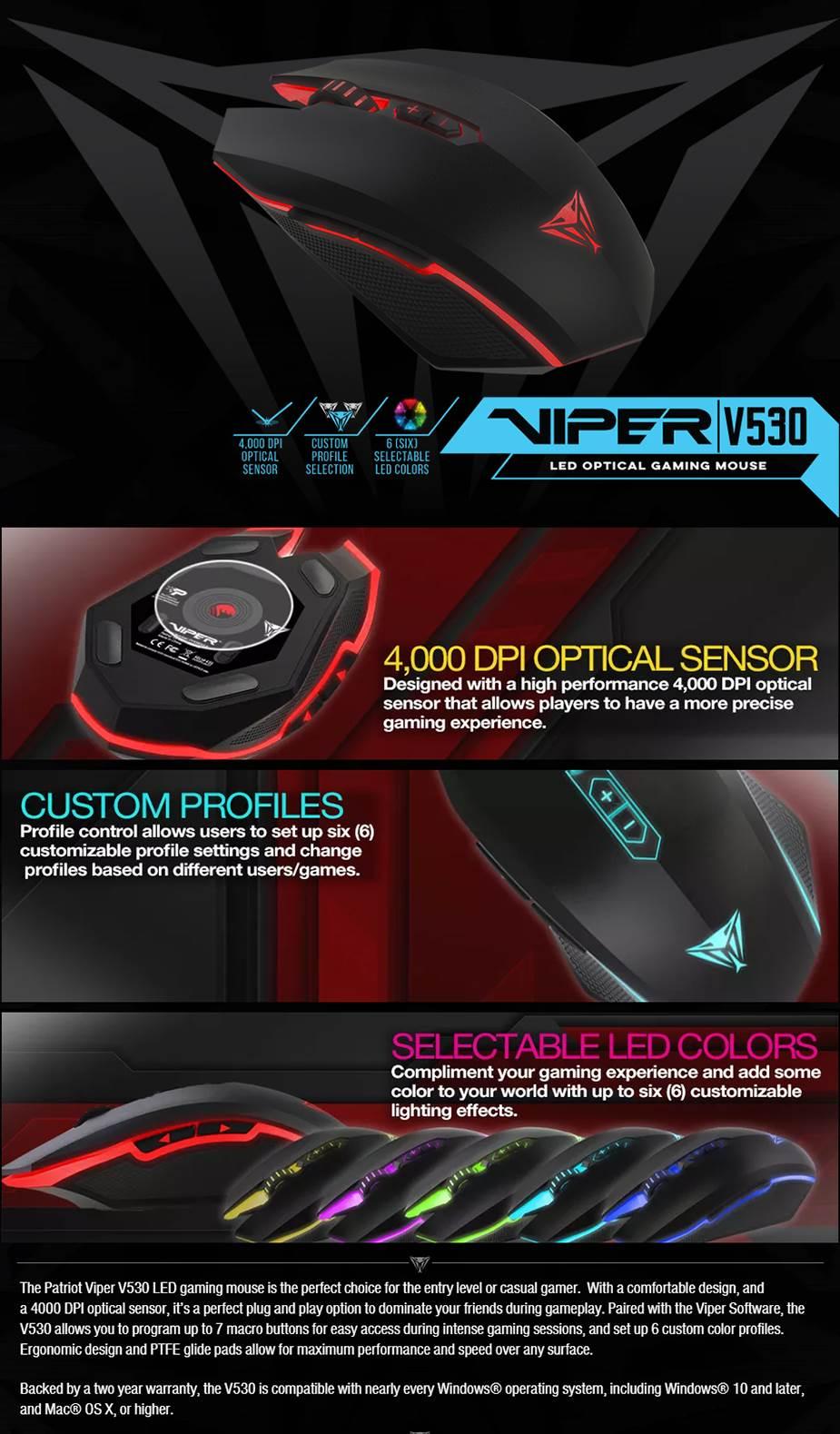 Patriot Viper V530 Gaming Mouse - PV530OULK   Mwave.com.au