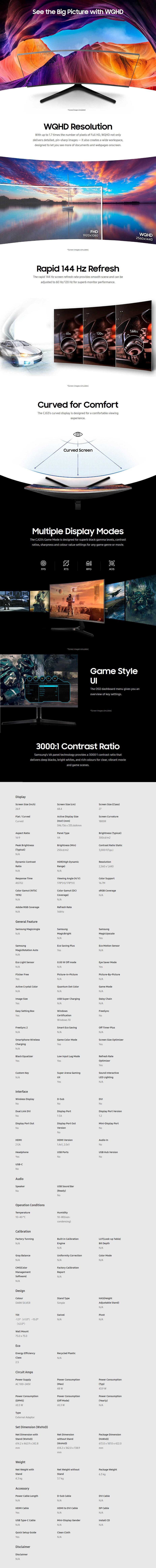 "Samsung CJG5 27"" 144Hz WQHD VA Curved Gaming Monitor - Desktop Overview 1"