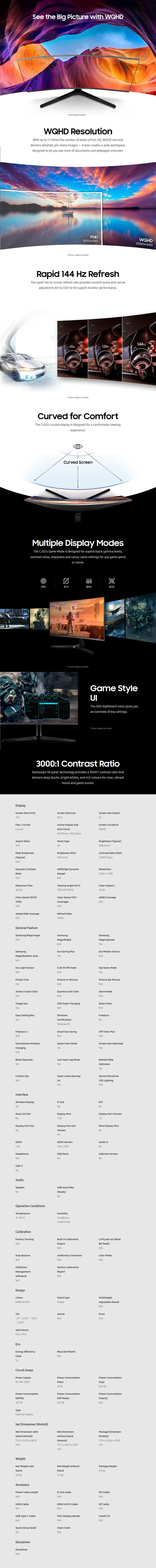 "Samsung CJG5 32"" 144Hz WQHD VA Curved Gaming Monitor - Desktop Overview 1"