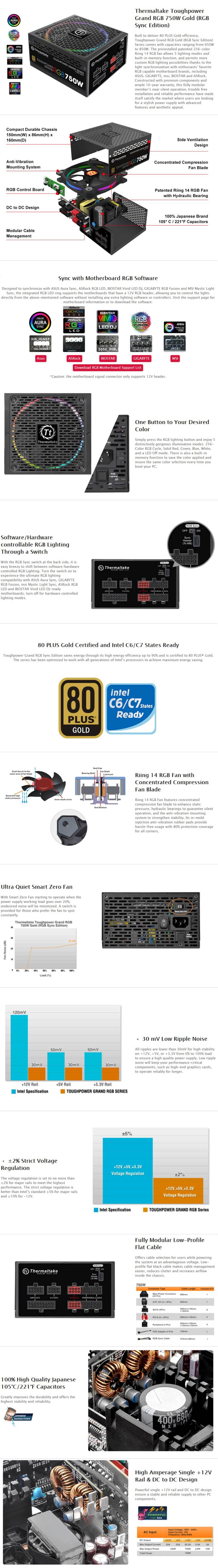 Thermaltake Toughpower Grand Sync RGB 80+ Gold 750W Fully Modular