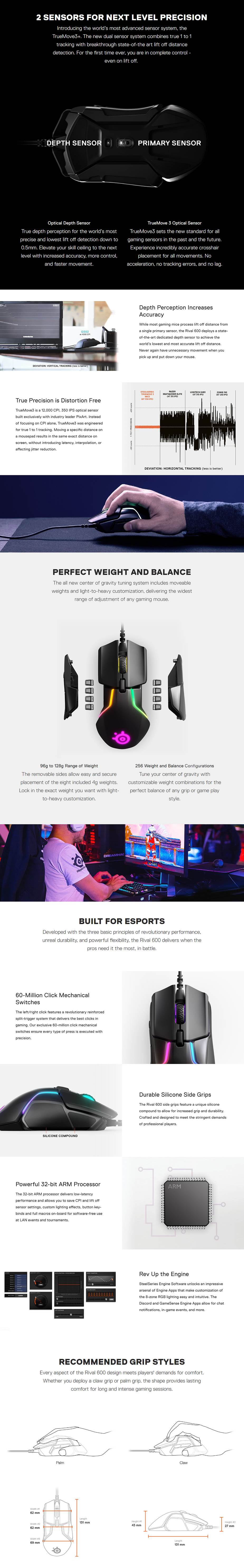SteelSeries Rival 600 Dual-Optical Gaming Mouse - Desktop Overview 1