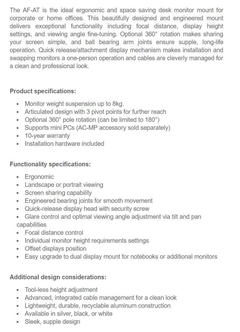 Atdec AF-AT Single Pole Articulated Arm Stand - Black - Desktop Overview 1