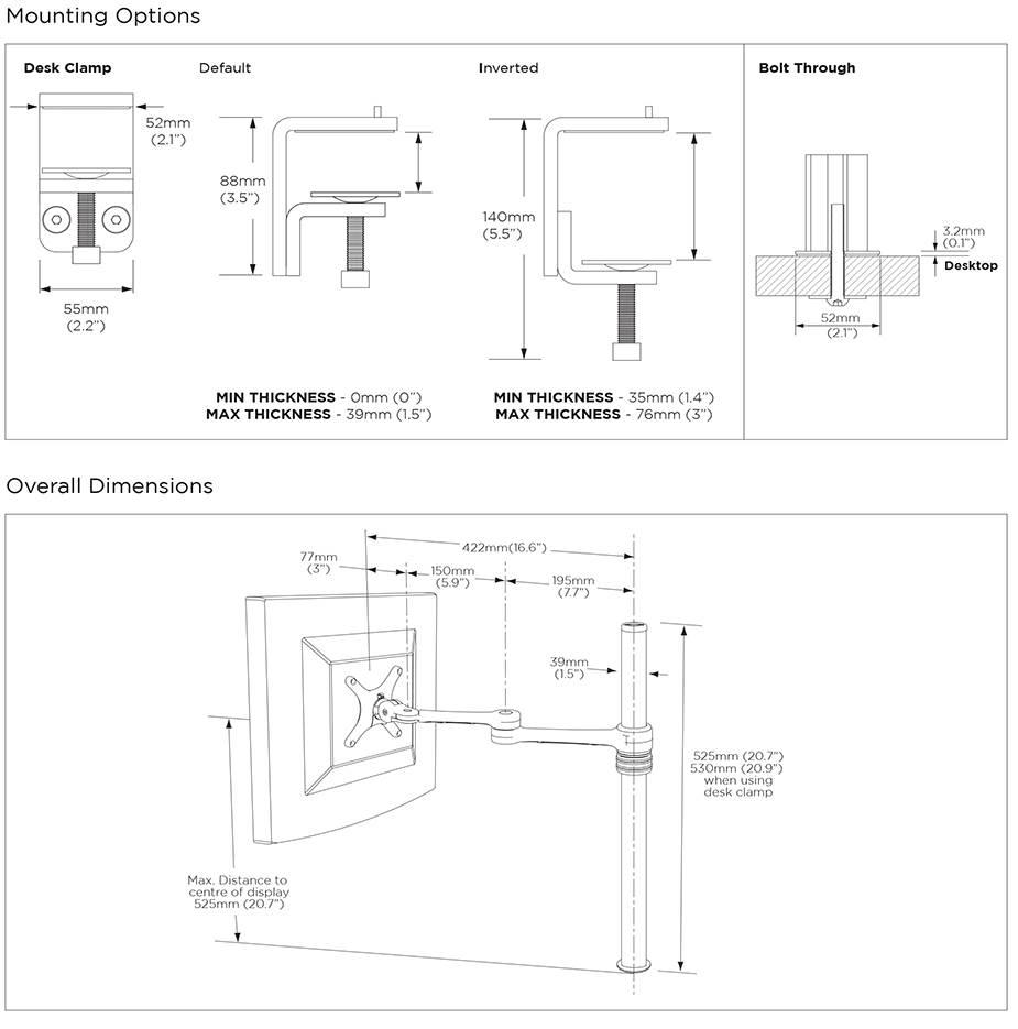 Atdec AF-AT Single Pole Articulated Arm Stand - Black - Desktop Overview 4