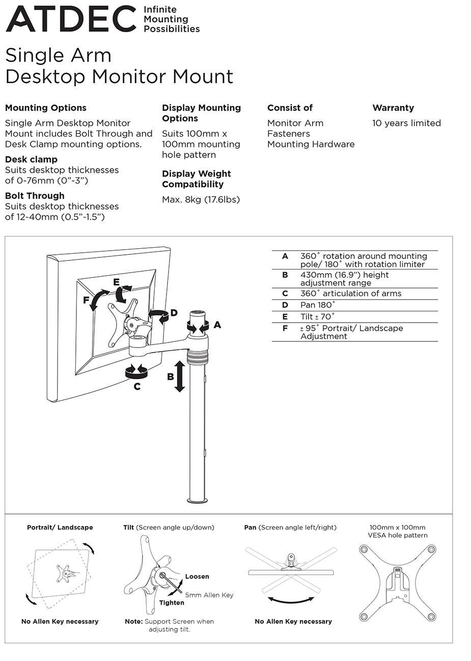 Atdec AF-AT Single Pole Articulated Arm Stand - Black - Desktop Overview 2