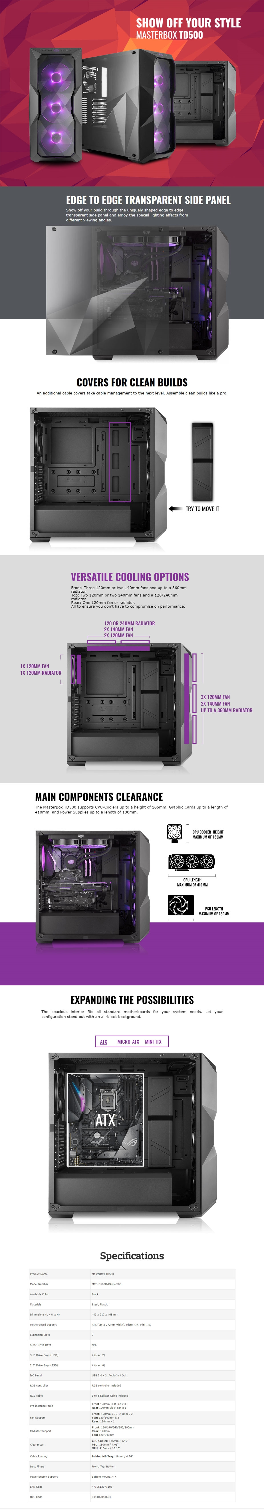Cooler Master MasterBox TD500 RGB ATX Mid-Tower Case Display Overview 1