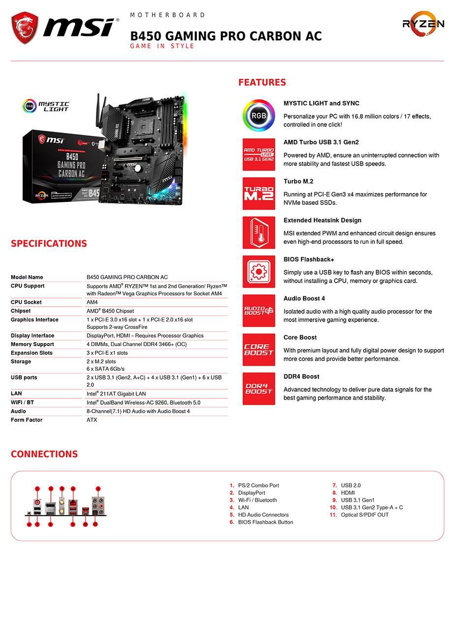 MSI B450 GAMING PRO CARBON AC AM4 ATX Motherboard - B450 GAMING PRO