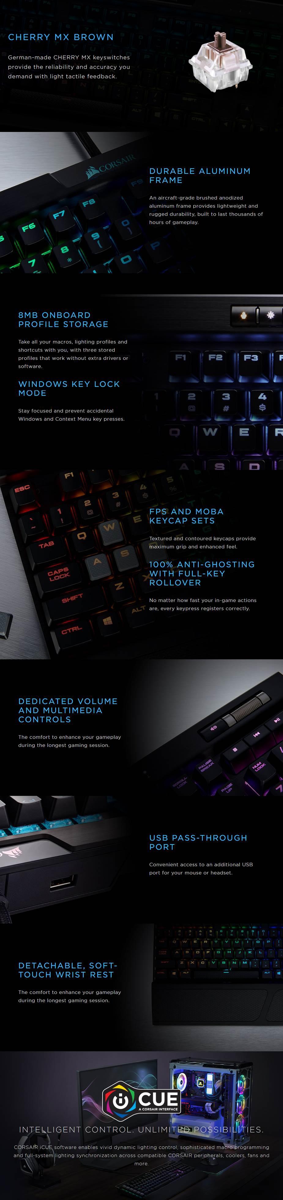 Corsair K70 RGB MK.2 Mechanical Gaming Keyboard - Cherry MX Brown - Desktop Overview 1