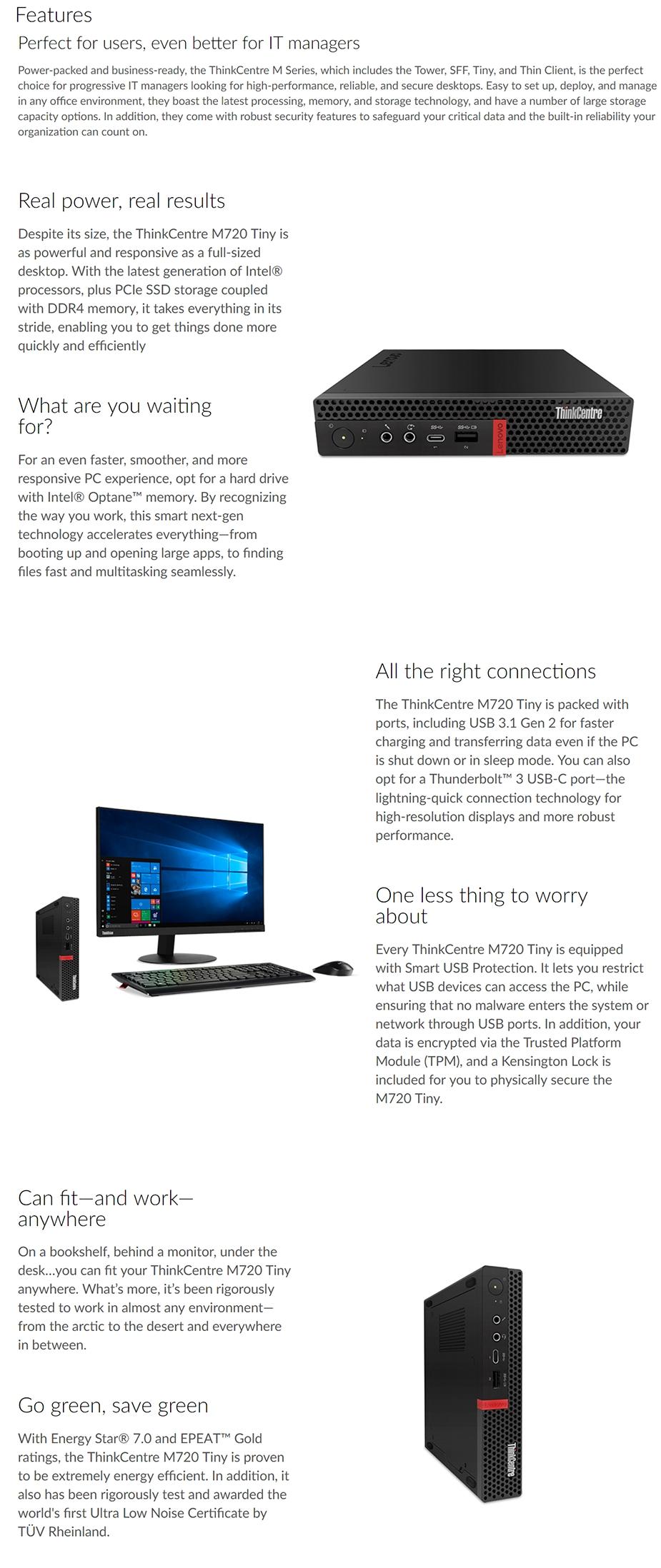 Lenovo ThinkCentre M720 Tiny Desktop PC i5-8400T 8GB 500GB