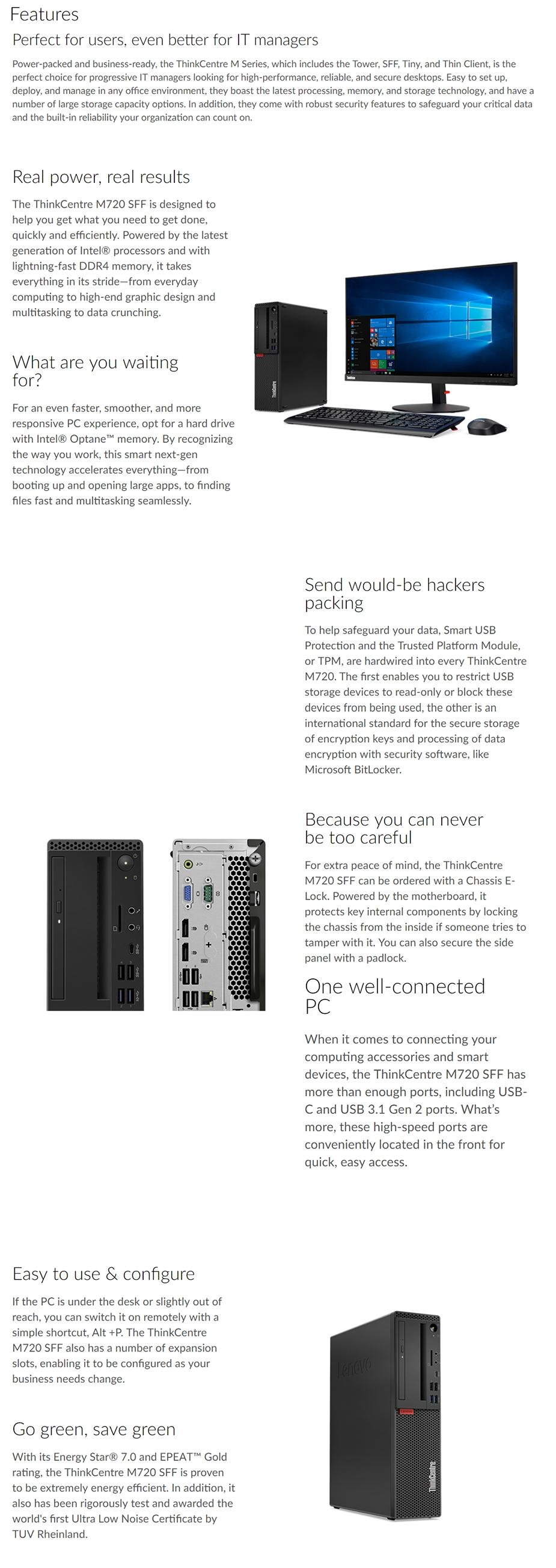 Lenovo ThinkCentre M720s SFF Desktop PC i3-8100 4GB 1TB Win10 Pro