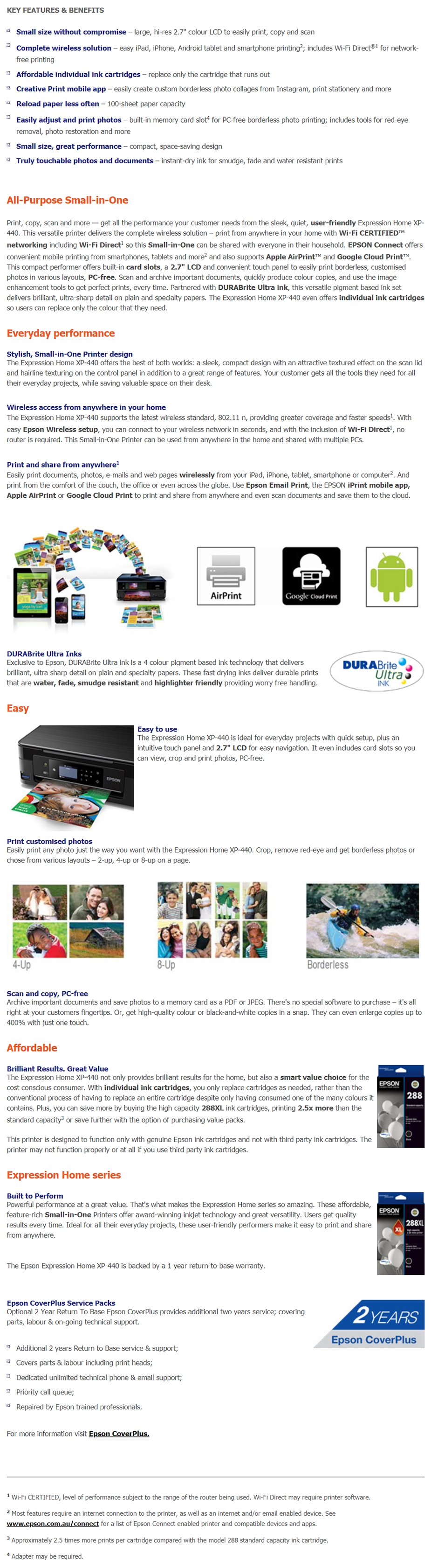 Epson Expression Home XP-440 A4 Multifunction Colour