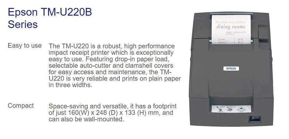 Epson TM-U220B-778 Impact 9-Pin Dot Matrix POS Printer - Ethernet Port