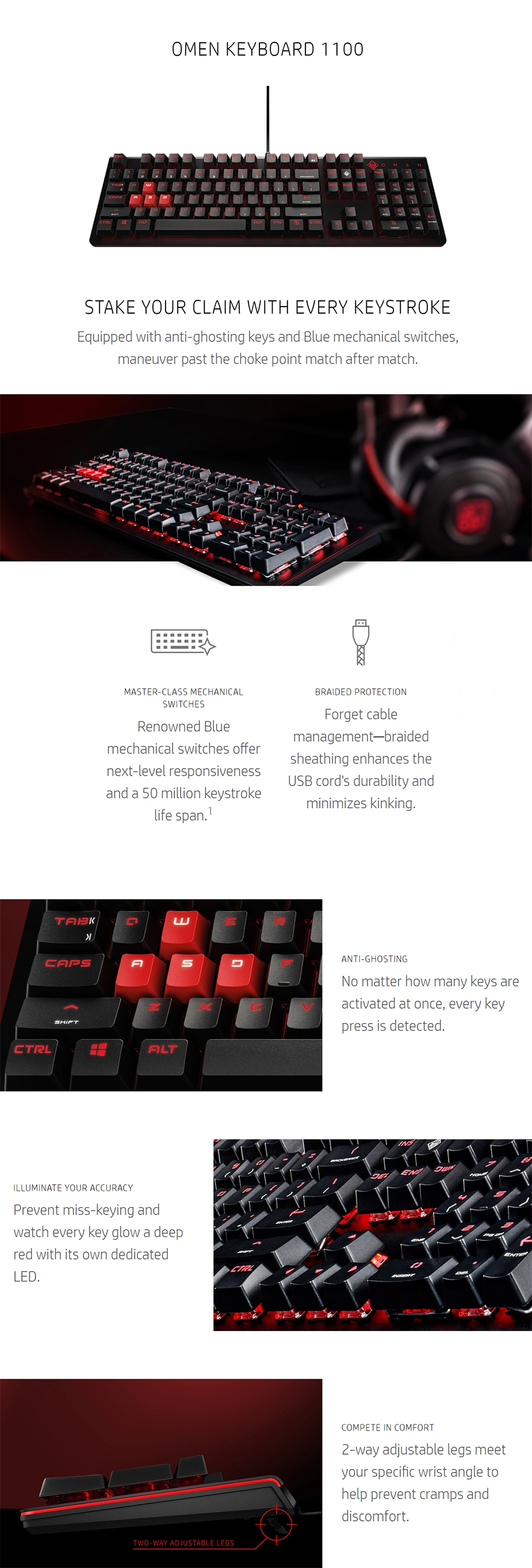 HP OMEN 1100 Mechanical Gaming Keyboard - Desktop Overview 1