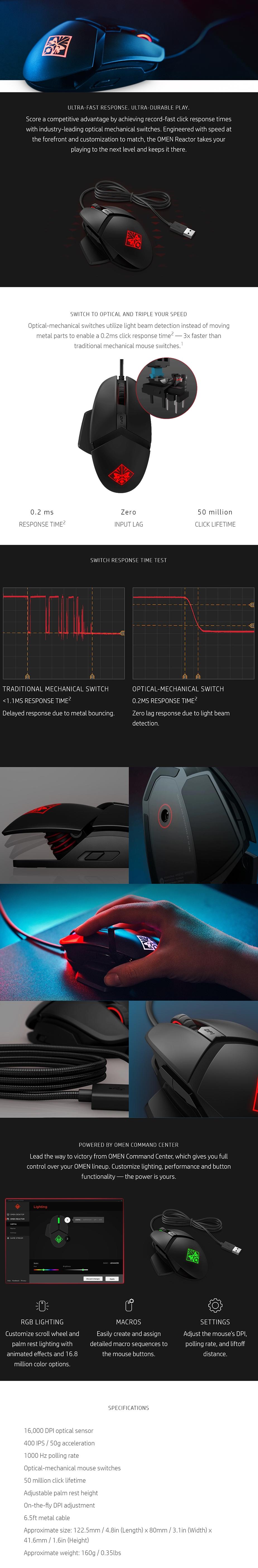 HP OMEN Reactor Optical Gaming Mouse - 2VP02AA   Mwave com au