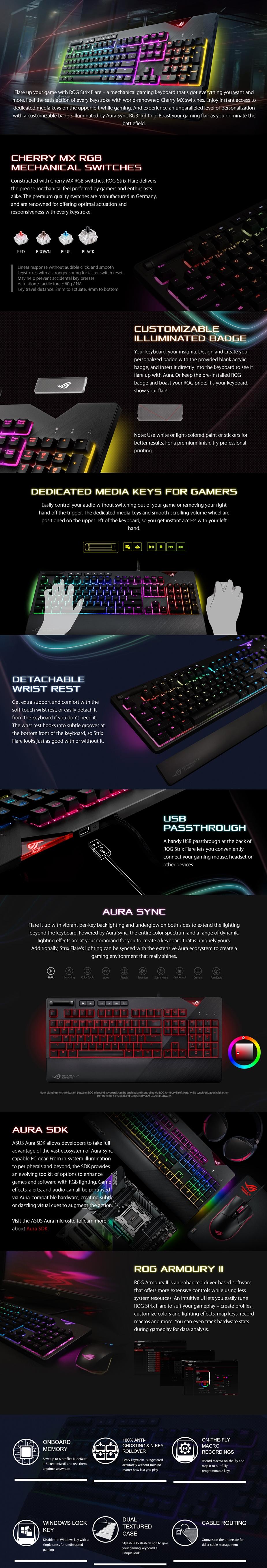 ASUS ROG Strix Flare RGB Mechanical Gaming Keyboard - Cherry MX Blue - ROG  STRIX FLARE/BLU | Mwave.com.au