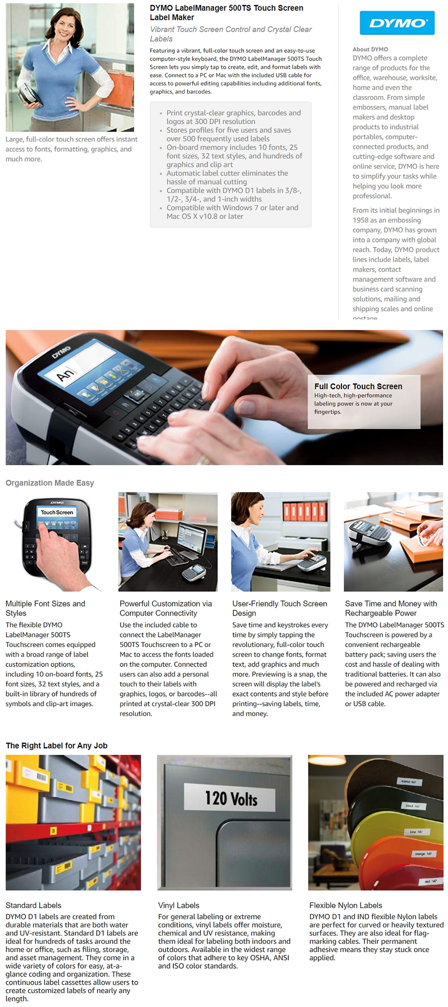 Dymo LabelManager 500TS Touch Screen Label Maker - S0946460