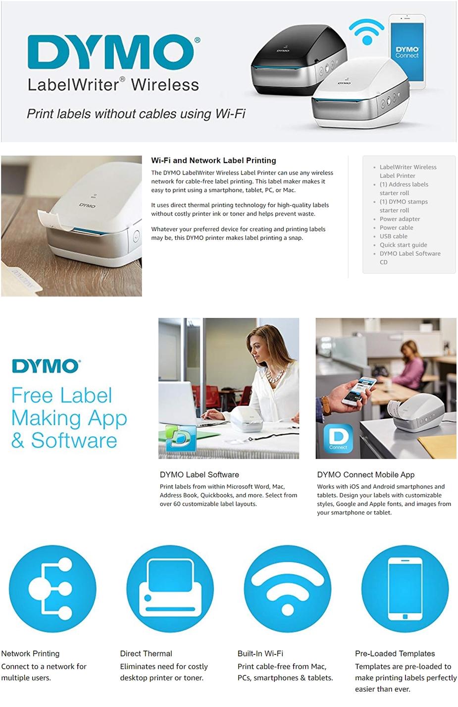 Dymo LabelWriter Wi-Fi Label Printer - Black - 2008209
