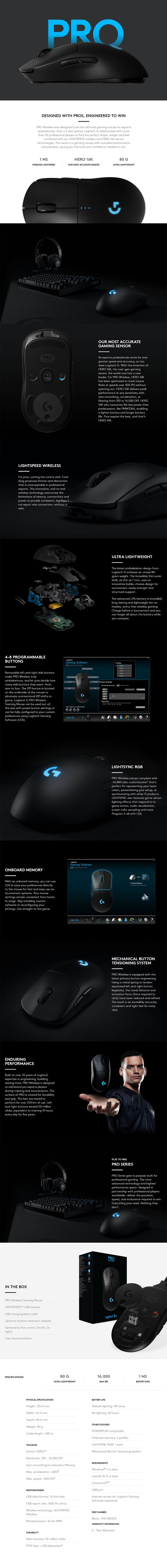 Logitech G Pro Lightspeed Wireless Gaming Mouse - Desktop Overview