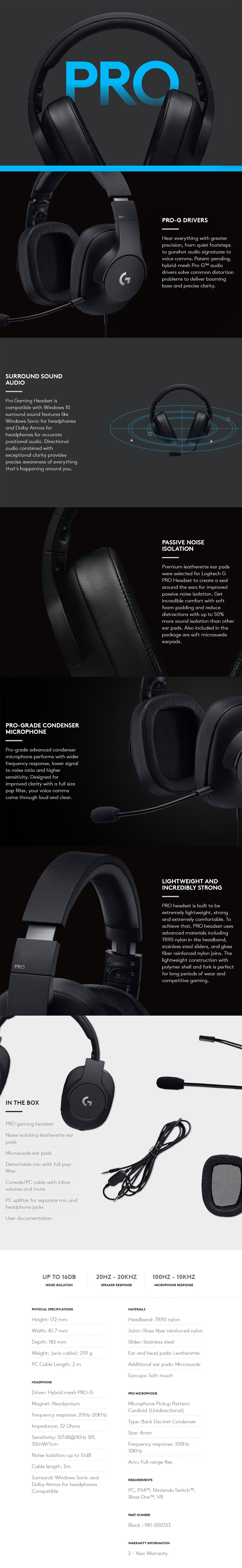 Logitech G Pro Gaming Headset - Desktop Overview