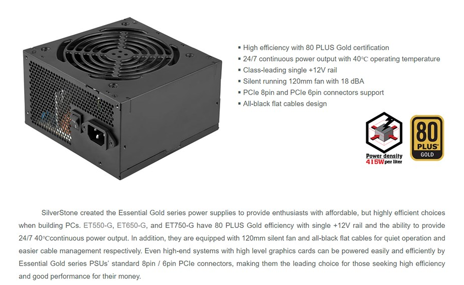 SilverStone Essential ET750-G 750W 80 PLUS Gold Semi-Modular Power Supply - Desktop Overview