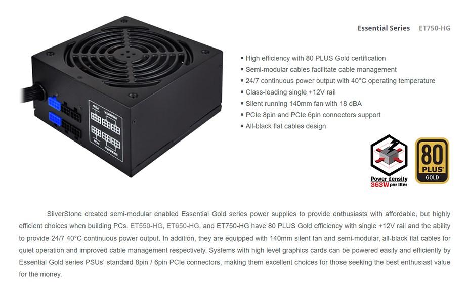 SilverStone Essential ET750-HG 750W 80 PLUS Gold Semi-Modular Power Supply - Desktop