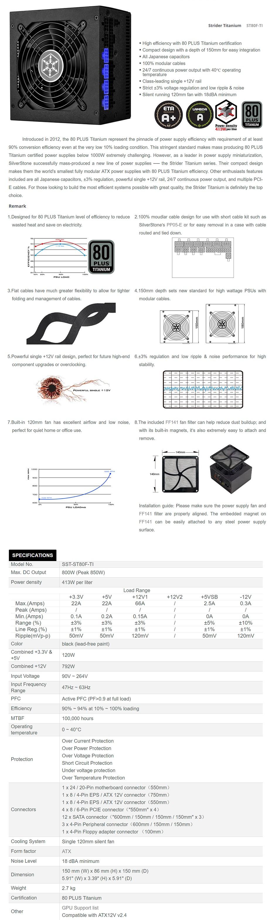 SilverStone Strider Titanium ST80F-TI 800W 80 PLUS Titanium Modular Power Supply - Desktop