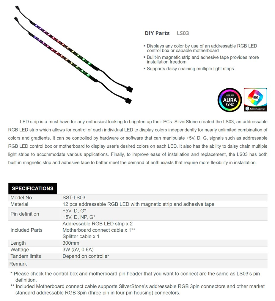 SilverStone LS03 300mm Addressable RGB LED Strip - Desktop