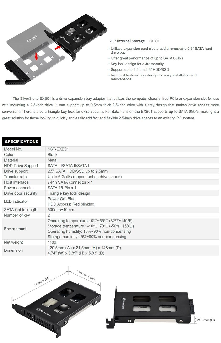 "SilverStone EXB01 2.5"" SATA Removable Hard Drive Bay - Desktop"