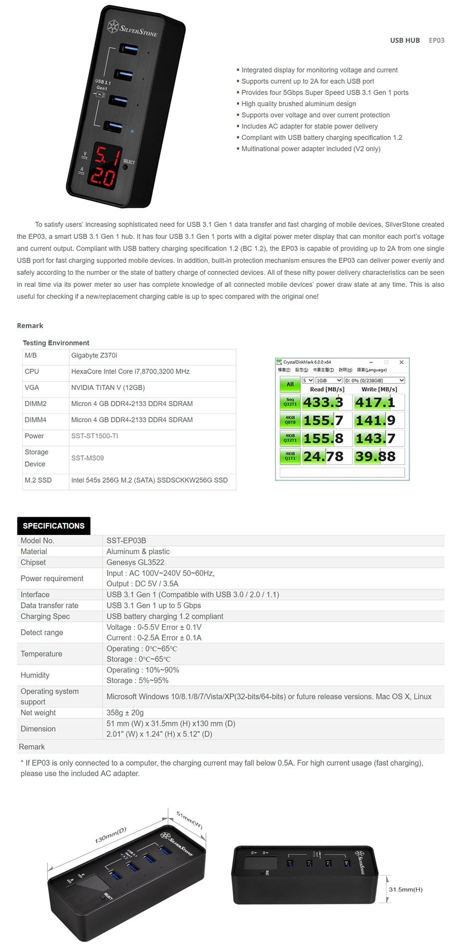 SilverStone EP03 USB 3.1 Gen1 USB Hub - Desktop