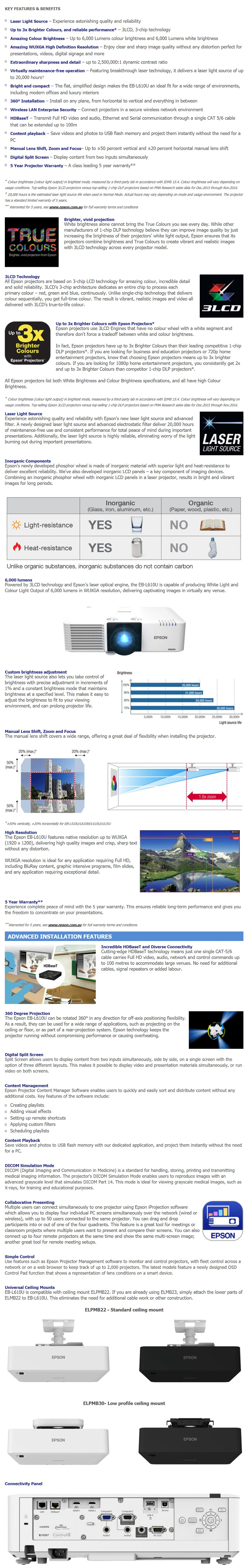 Epson EB-L610U WUXGA 3LCD Data Laser Projector - Desktop Overview 1
