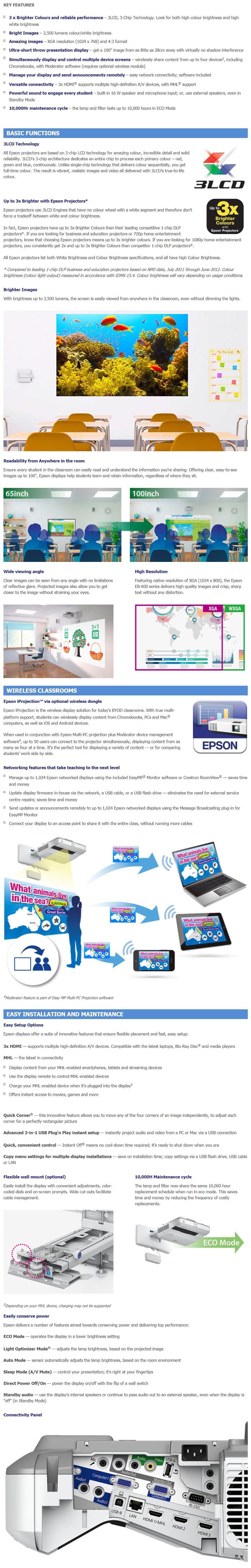 Epson EB-680 XGA 3LCD Ultra Short Throw Data Projector - Desktop Overview 1