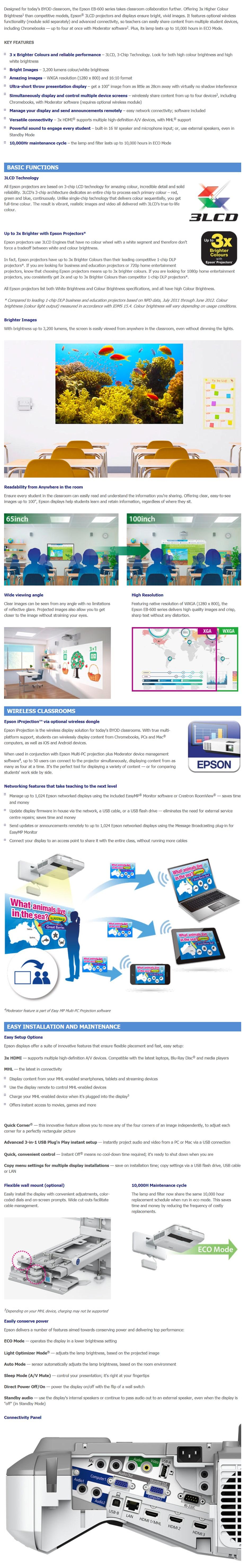 Epson EB-675W WXGA 3LCD Ultra Short Throw Data Projector - Desktop Overview 1