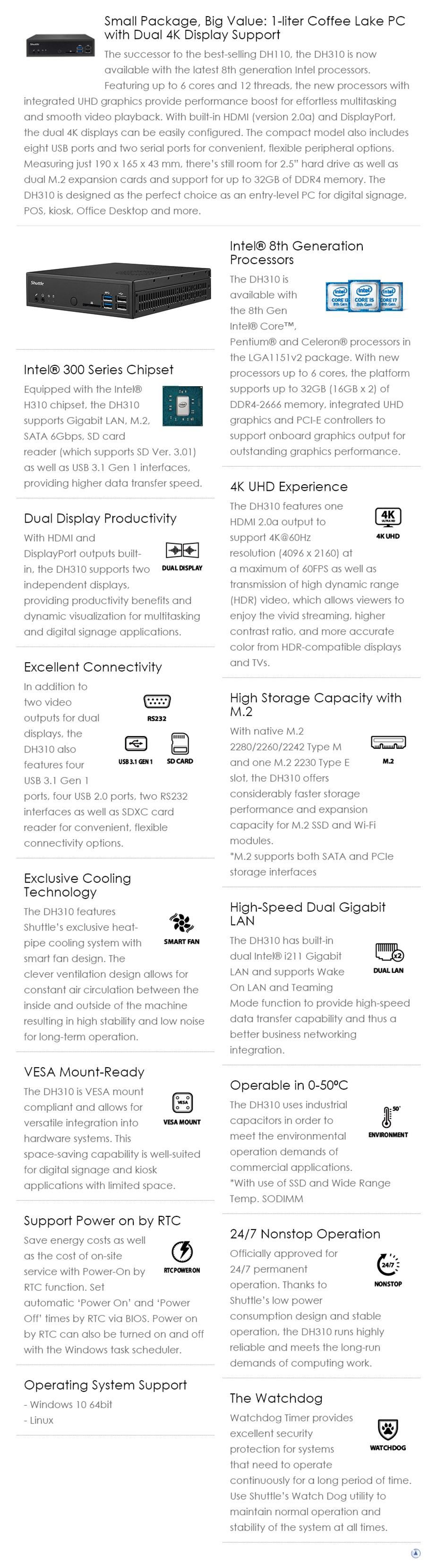 Shuttle DH310 Slim Barebone PC - Desktop Overview 1