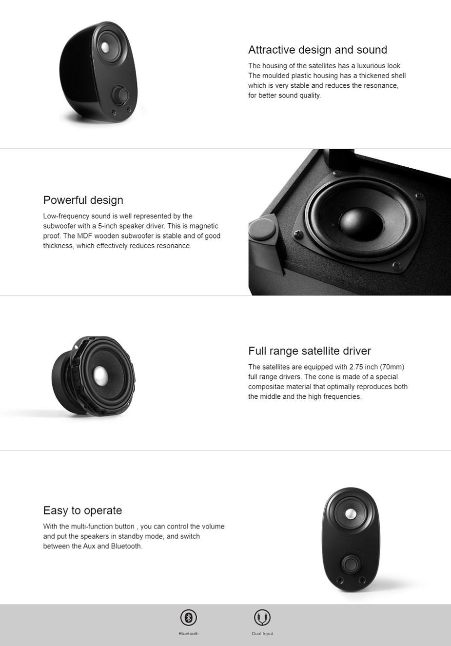 Edifier M1390BT 2.1 Bluetooth Multimedia Speakers - Desktop Overview 1
