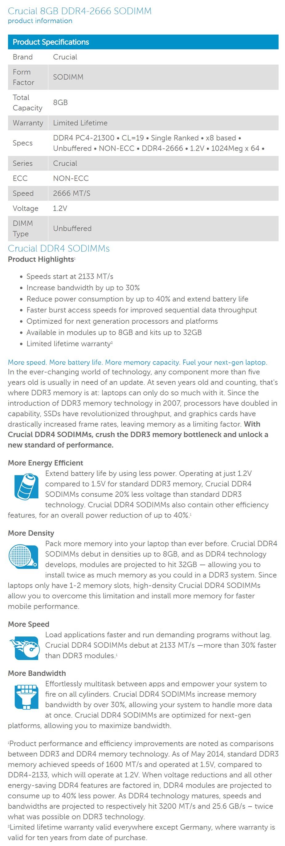 Crucial 8GB (1x 8GB) DDR4-2666 SODIMM Non-ECC Memory - Desktop Overview 1