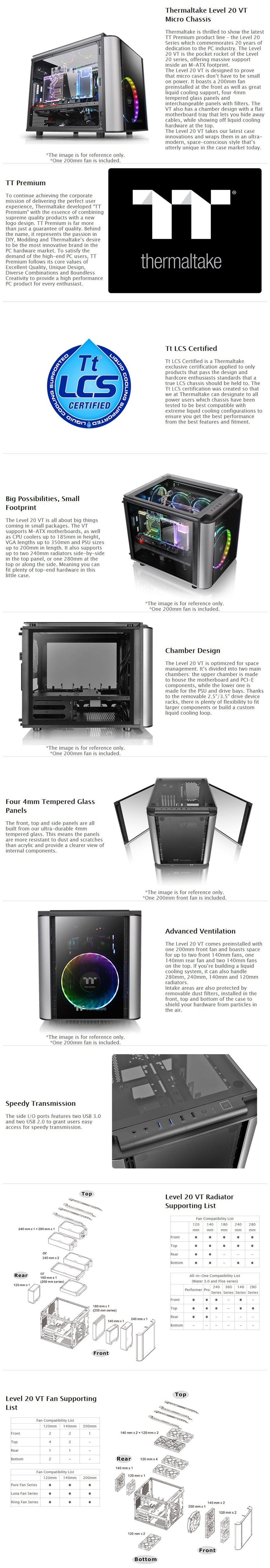 Thermaltake Level 20 VT Tempered Glass M-ATX Micro Case - Desktop Overview