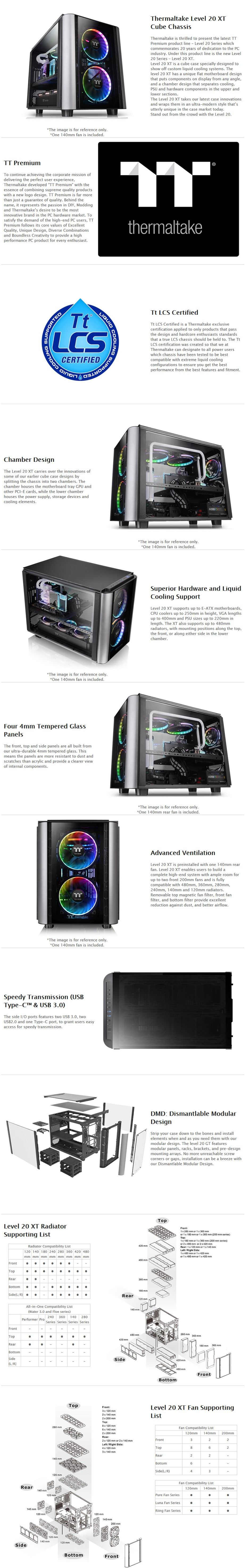 Thermaltake Level 20 XT Tempered Glass E-ATX Cube Case - Desktop Overview