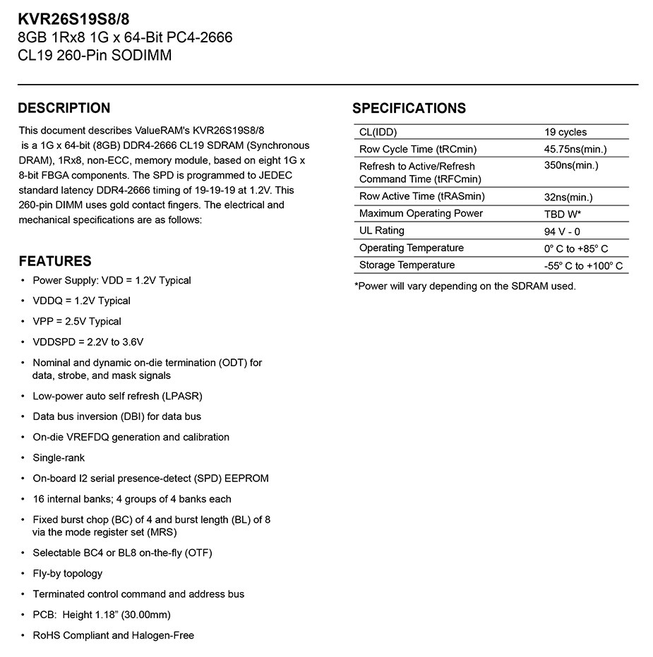 Kingston ValueRAM 8GB (1x 8GB) DDR4 2666 MHz SODIMM Memory - Desktop Overview