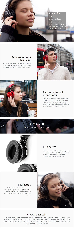 Cowin E7 Pro Noise Cancelling Bluetooth Headphones - Desktop Overview 5