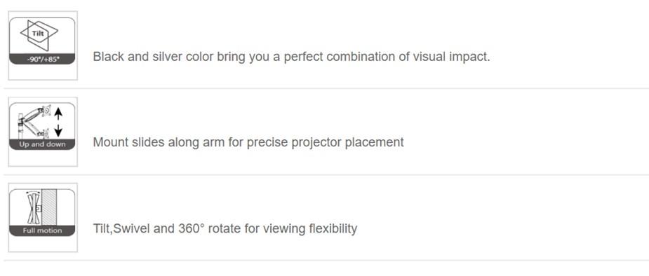 Vision Mounts VM-PR15L Height Adjustable Ceiling Projector Mount - Desktop Overview 2