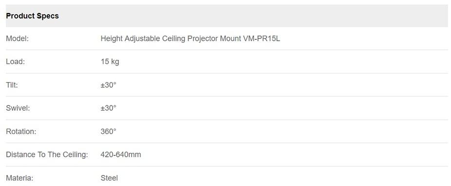 Vision Mounts VM-PR15L Height Adjustable Ceiling Projector Mount - Desktop Overview 3